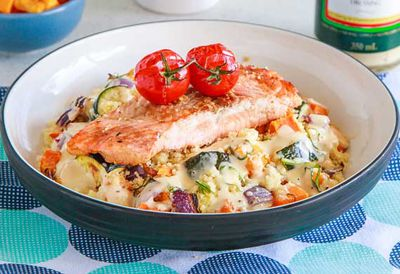 Salmon with roast veg couscous salad