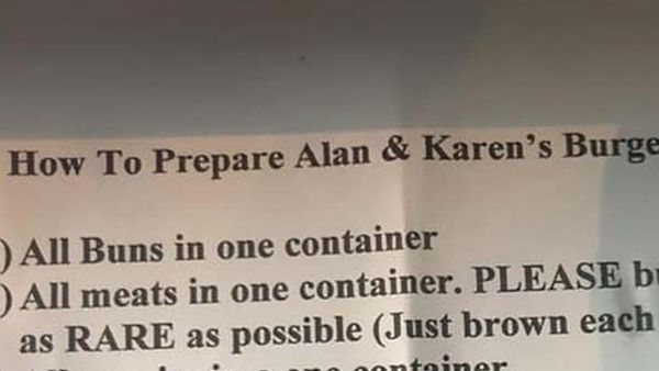 """A note of customer requests with the title """"How to prepare Alan and Karen's Burgers to Go"""""""