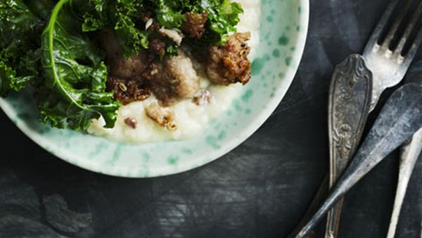 Kale and sausage risotto