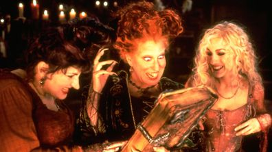 """A scene from the classic Halloween film, """"Hocus Pocus"""" is seen."""