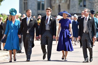 Autumn Phillips, Peter Phillips, Arthur Chatto, Lady Sarah Chatto and Daniel Chatto attend the wedding of Prince Harry to Ms Meghan Markle at St George's Chapel, Windsor Castle on May 19, 2018 in Windsor, England.