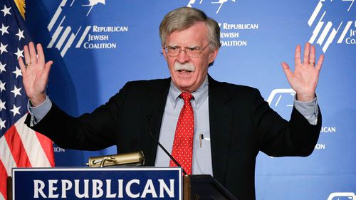 Then-US ambassador to the UN John Bolton speaks at the Republican Jewish Coalition in Las Vegas in 2014. (AP)