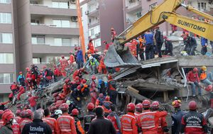 Elderly earthquake survivor pulled from rubble by Turkish rescue workers