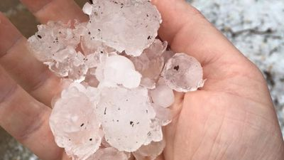 <p>Many residents were surprised by hail in their remote town.</p>