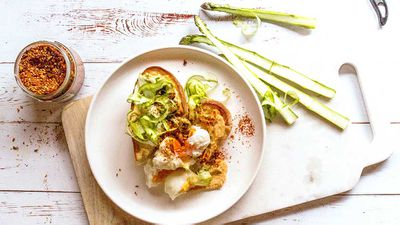 "Recipe: <a href=""http://kitchen.nine.com.au/2017/09/01/07/13/garlic-focaccia-with-asparagus-chilli-hummus-and-poached-eggs"" target=""_top"">Garlic focaccia with asparagus, chilli hummus and poached eggs</a>"