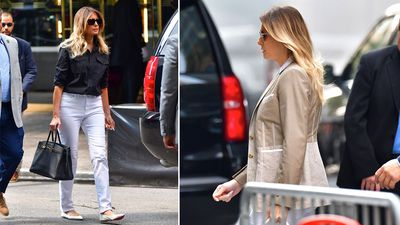 Melania Trump sports casual chic in rare sighting