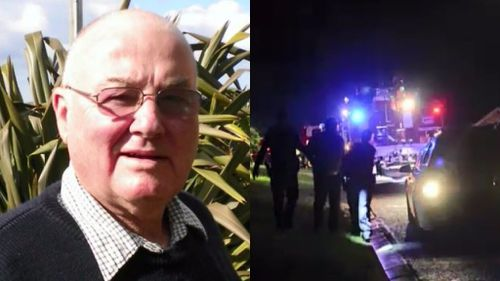 Graham Stevenson (left) was rescued from his burning property.  His neighbour Stuart McKnight (right) was arrested a short time later. (Supplied and 9NEWS)