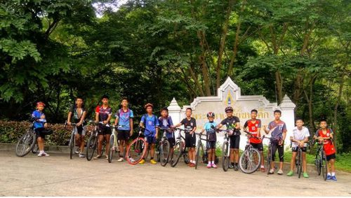The team rode their bikes to the location before entering the caves. Image: AAP