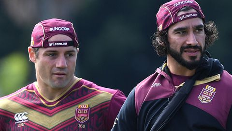 Cooper Cronk (left) and Johnathan Thurston.