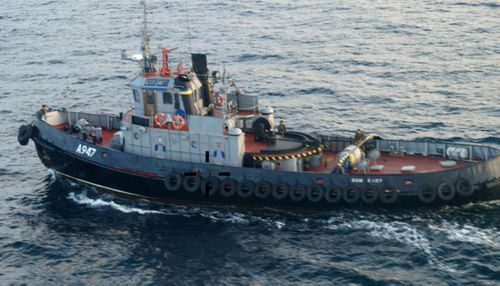 The Ukrainian Navy tug craft which Russia says illegally entered its waters.
