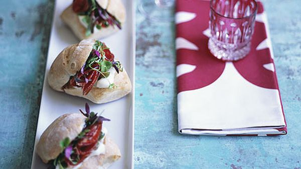 Coppa, stracchino and green olive salad rolls