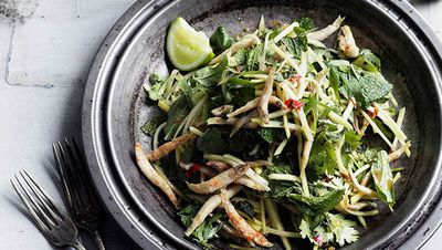 "Recipe:&nbsp;<a href=""http://kitchen.nine.com.au/2016/05/16/18/15/crisp-chilli-whitebait-and-green-mango-salad"" target=""_top"">Crisp chilli whitebait and green mango salad</a>"
