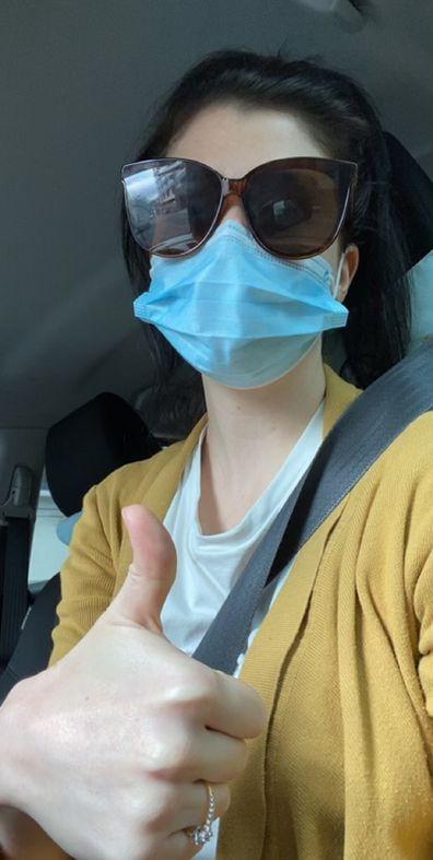 Laura Keily COVID-19 nurse thumbs up