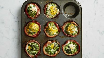 """<a href=""""http://kitchen.nine.com.au/2017/01/31/13/10/green-bacon-and-egg-cupcakes"""" target=""""_top"""">Green bacon and egg cupcakes</a><br> <br> <a href=""""http://kitchen.nine.com.au/2017/02/09/16/10/a-bowlful-of-goodness-for-breakfast"""" target=""""_top"""">More breakfast bowl inspiration</a>"""