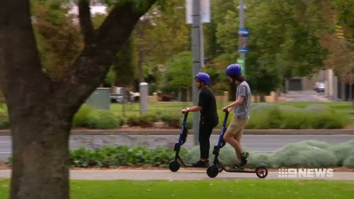 Beam's purple e-scooters have begun zipping through Adelaide's CBD.