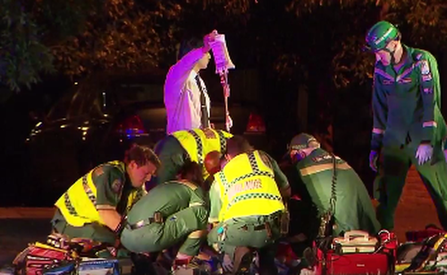Paramedics worked on the father-of-two but he could not be saved. (9NEWS)