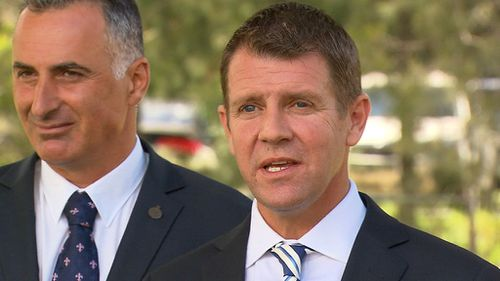 Premier Mike Baird plans to fund the upgrades by selling the state's electricity poles and wires. (9NEWS)