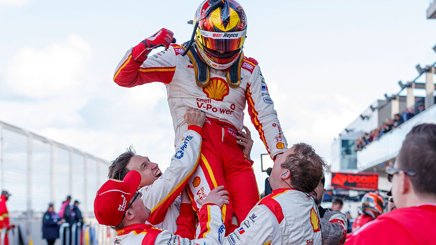 Supercars driver Scott McLaughlin (centre) after winning the OTR SuperSprint The Bend Event 10 of the Virgin Australia Supercars Championship at Tailem Bend, South Australia.
