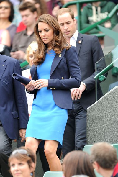 The Duchess of Cambridge Kate Middleton at the Men's Singles Tennis on Day six of the London 2012 Olympic Games at Wimbledon on August, 2012