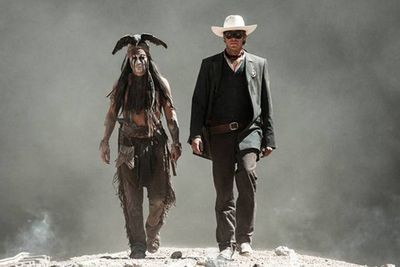Johnny Depp as American Indian Tonto with his Texas Ranger pal, The Lone Ranger, played by Armie Hammer.