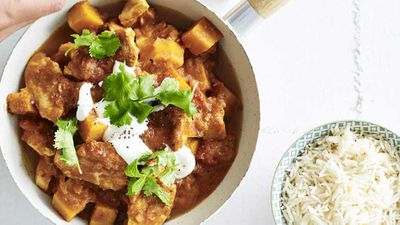 """Recipe: <a href=""""http://kitchen.nine.com.au/2018/02/20/09/27/butter-chicken-recipe"""" target=""""_top"""">Butter chicken curry with basmati rice</a>"""