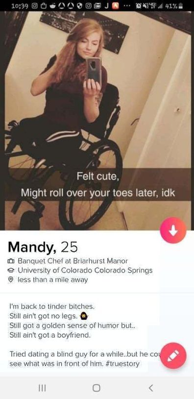 Mandy Horvath double amputee shines with sense of humour on tinder