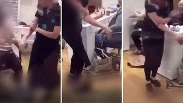 Dramatic footage posted to Snapchat shows the worker clutching her arm to avoid spilling blood.