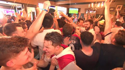 England fans lose all control. Picture: 9NEWS