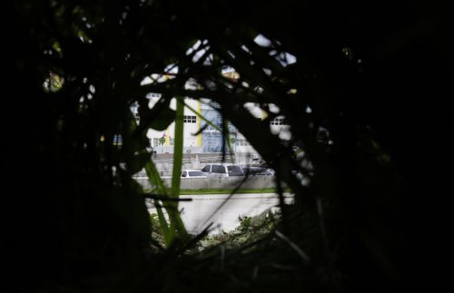 The position believed to be used by the sniper, looking onto the parking lot outside the municipal hall where Halili was killed. Picture: AP