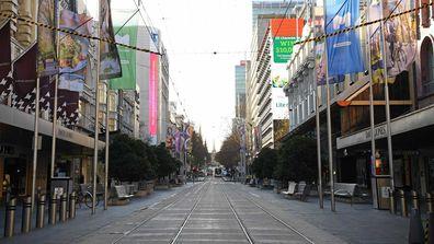 An empty Bourke Street Mall in Melbourne.