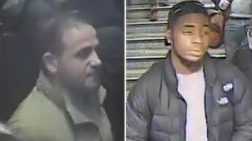 Authorities are searching for the two men suspected of causing the panic at the station.