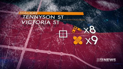 Queensland's most dangerous intersections have been named today - including these streets in Mackay, which came in at number 3. Picture: 9NEWS.