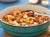 Spicy prawn, tomato and fetta stew