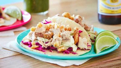 """Recipe:&nbsp;<a href=""""http://kitchen.nine.com.au/2016/07/12/11/33/pork-belly-tacos-with-fennel-and-apple-slaw"""" target=""""_top"""" draggable=""""false"""">Pork belly tacos with fennel and apple slaw</a>"""
