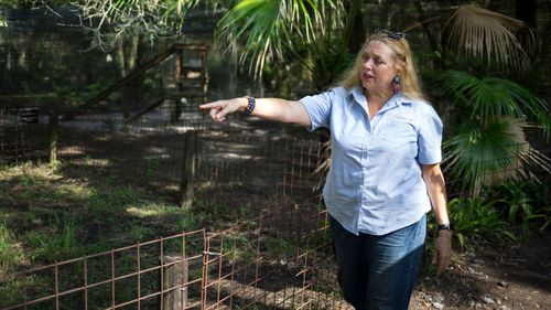 Carole Baskin, founder of Big Cat Rescue, walks the property near Tampa Florida.