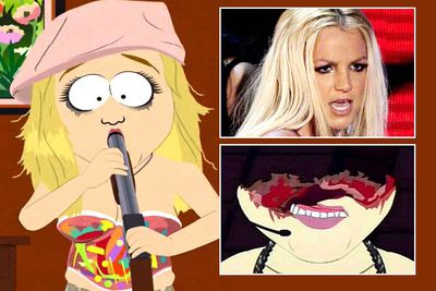 "<B>Episode:</B> 'Britney's New Look', season 12 <br/><br/><B>Why it's so naughty:</B> The ""new look"" of the episode title comes about after Britney shoots off the top of her head in a failed suicide attempt. But her gross disfigurement doesn't stop the paparazzi from stalking her every move!<br/><br/><B>Quote:</B> [Britney's manager sees her for the first time after she blows her head off] ""Oh, jeez, Britney! Britney, what were you thinkin'? First you shave your head, and then this."""