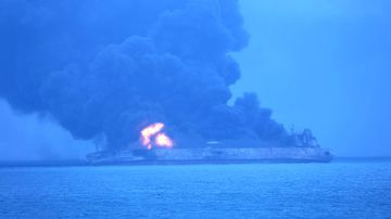 "The Panama-registered tanker ""Sanchi"" is seen ablaze after a collision with a Hong Kong-registered freighter off China's eastern coast. (AAP)"