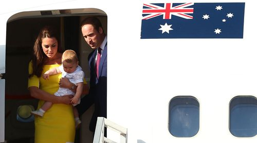 Duchess Kate, Prince George and Prince William arrive in Sydney. (Getty)
