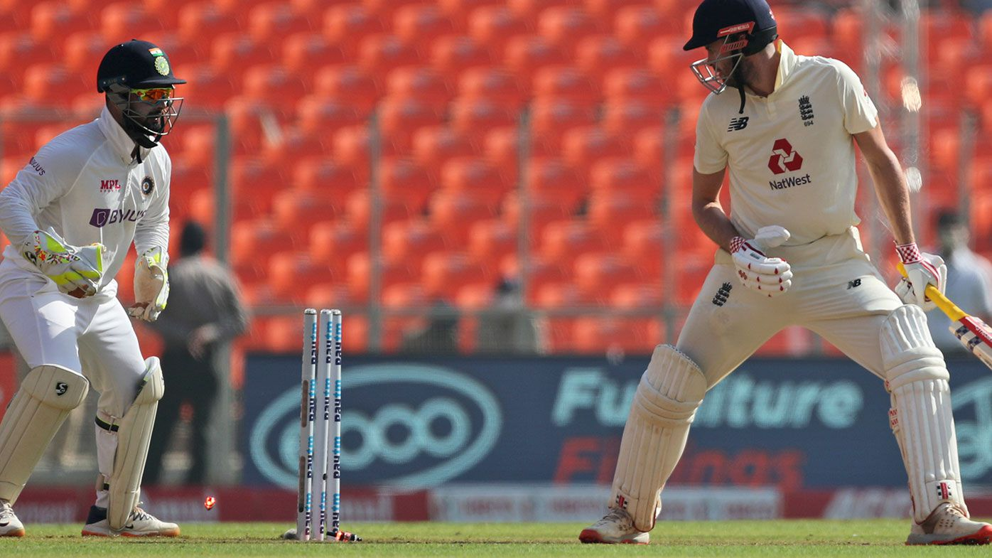 England's Dom Sibley is bowled on the first morning of the fourth Test against India.