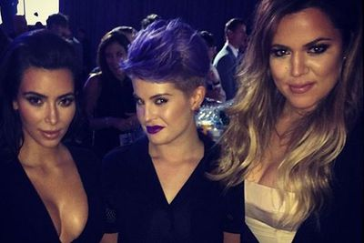@kellyosbourne: Had so much fun catching up with @kimkardashian & @khloekardashian tonight! #4sisters