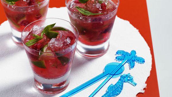 Raspberry and Mint Mojito