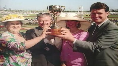 """Cummings' Melbourne Cup Honour Roll read """"Horses made famous by his touch, a record never to be seriously challenged"""". (9NEWS)"""
