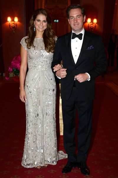 Princess Madeleine of Sweden and husband Christopher O'Neill at a private dinner on the eve of their weddingin Stockholm, Sweden, June, 2013