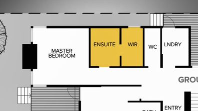 Jimmy and Tam's Master Ensuite and Walk-In Robe layout, before. The Block 2020.