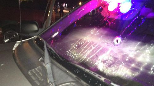Local police have tweeted photos of a bullet-ridden squad car. (Supplied)