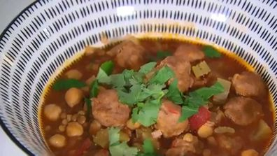 Sausage Moroccan soup