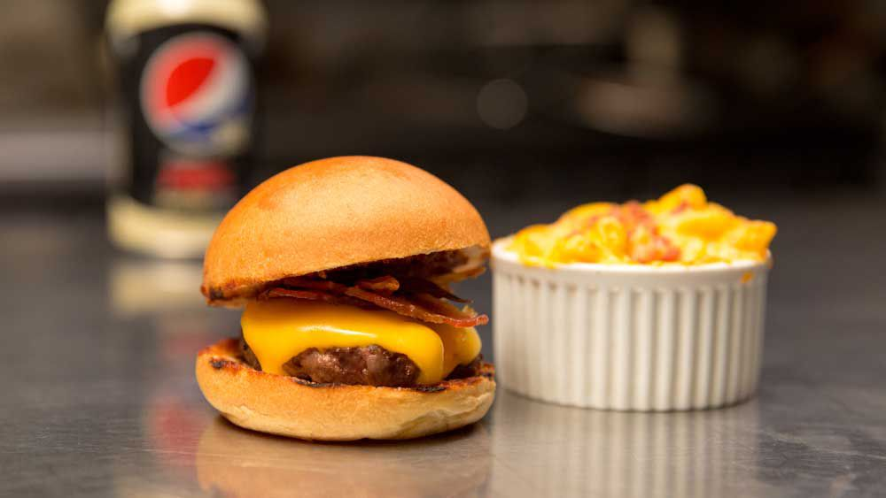 Jimmy Hurlston's mini burger with mac and cheese
