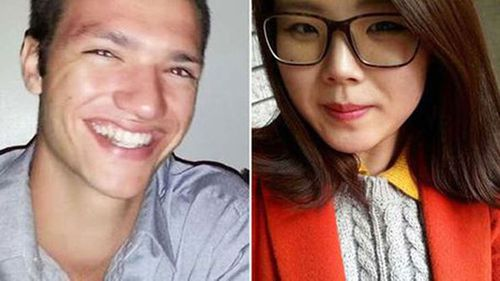 Alex McEwan (left) is accused of murdering Korean student Eunji Ban.