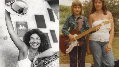 Cheryl Byrnes in 1986 (left) and with a young Keith Urban in 1977.