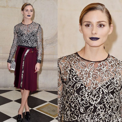 <p>Blue lipstick went from off-beat social media trend to straight-up cool when it was spotted on style guru Olivia Palermo. The 'it girl' sported a deep, matte navy front row at Dior's Paris Fashion Week Show, turning plenty of heads and attracting muchos admiring glances.</p> <p>We wanted to hate it, but the truth is we didn't. The look totally worked in a vampy, chic, ubder-modern way.</p> <p>Image: <em>Instagram</em>/@dmartnyc</p>